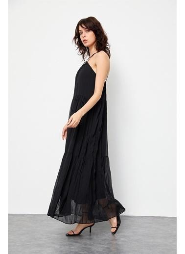 Setre Siyah Jorjet Tokalı Uzun Elbise Siyah